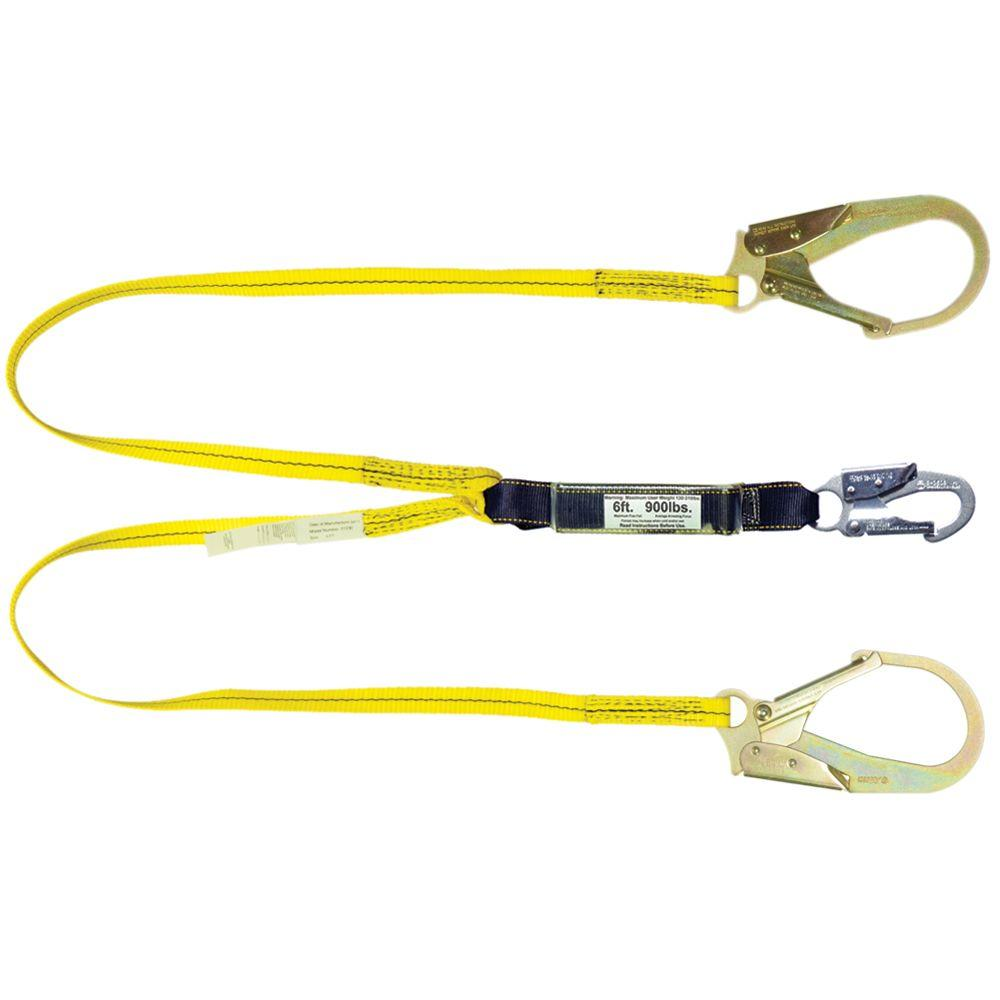 Qualcraft 4 ft. Double Leg Shock Absorbing Lanyard with Rebar Hook end