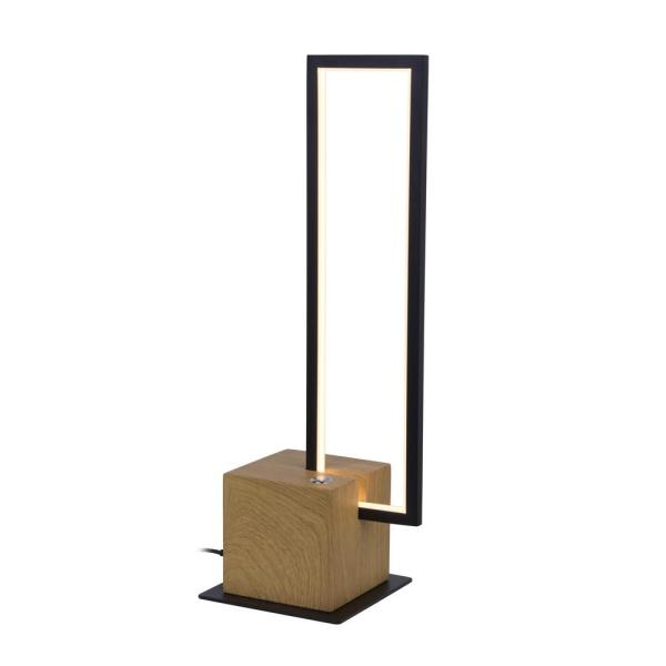 Silva 17.25 in. Plated Wood Indoor Table Lamp with 3-Way Touch Integrated LED Technology