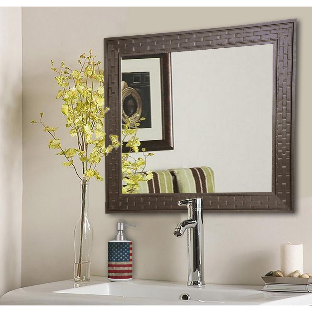 24.5 in. x 24.5 in. Espresso Bricks Square Vanity Wall Mirror