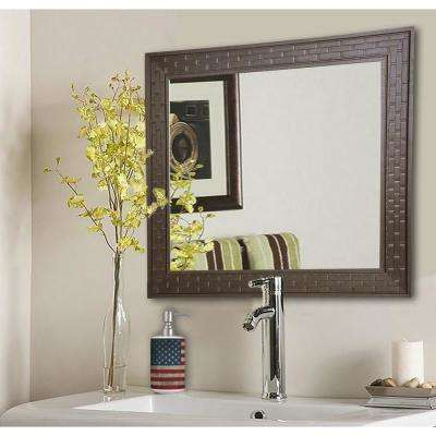 34.5 in. x 34.5 in. Espresso Bricks Square Vanity Wall Mirror
