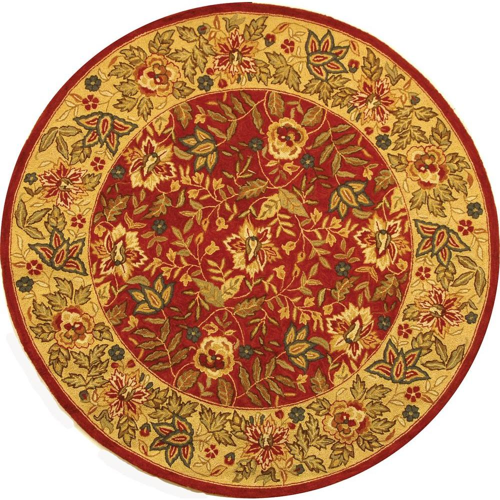 safavieh chelsea red ivory 8 ft x 8 ft round area rug hk140c 8r the home depot. Black Bedroom Furniture Sets. Home Design Ideas
