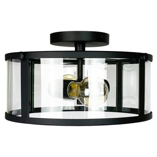 Brooklyn Collection 2-Light Black Flush Mount with Clear Glass Shade
