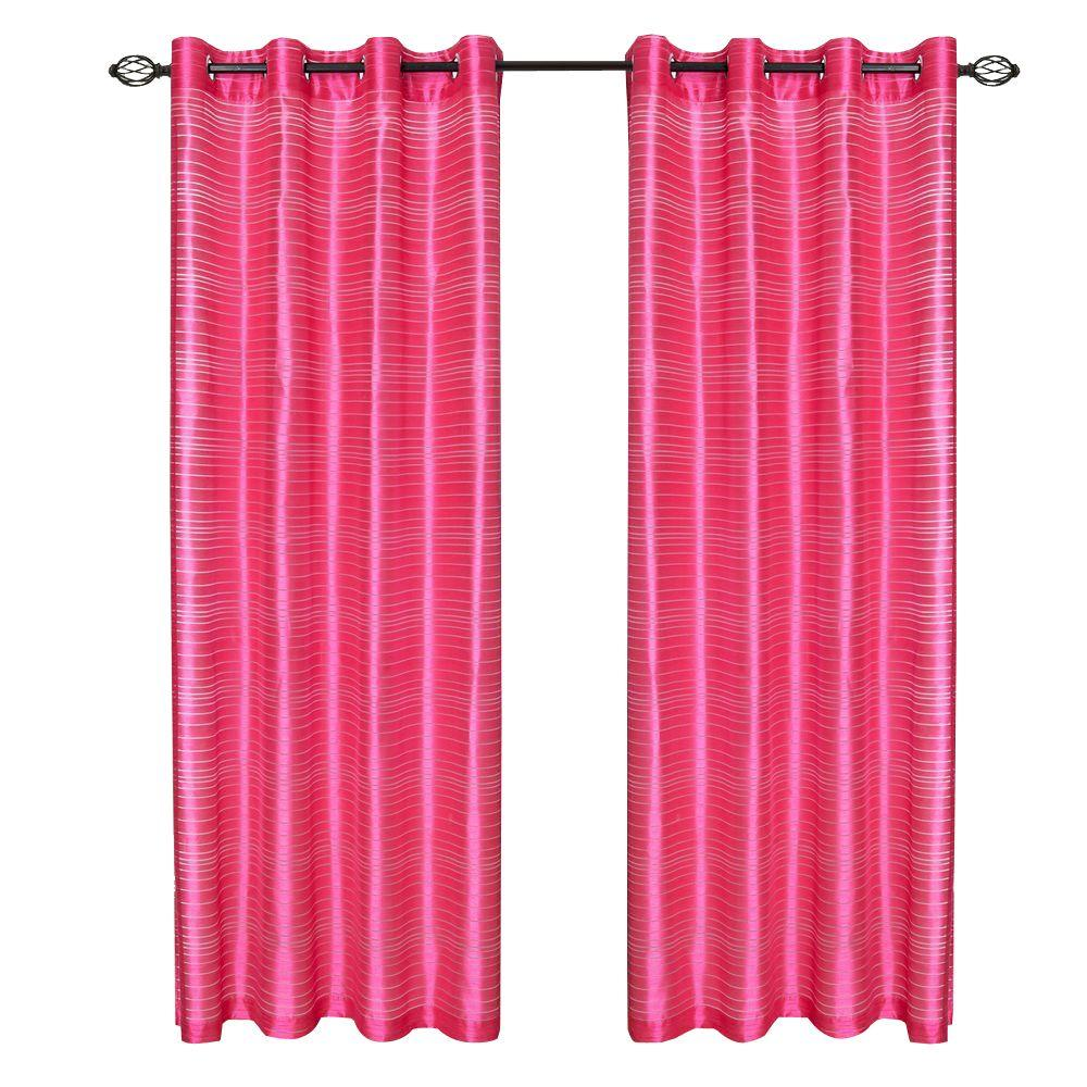 Lavish Home Fuschia Maggie Grommet Curtain Panel 108 In Length