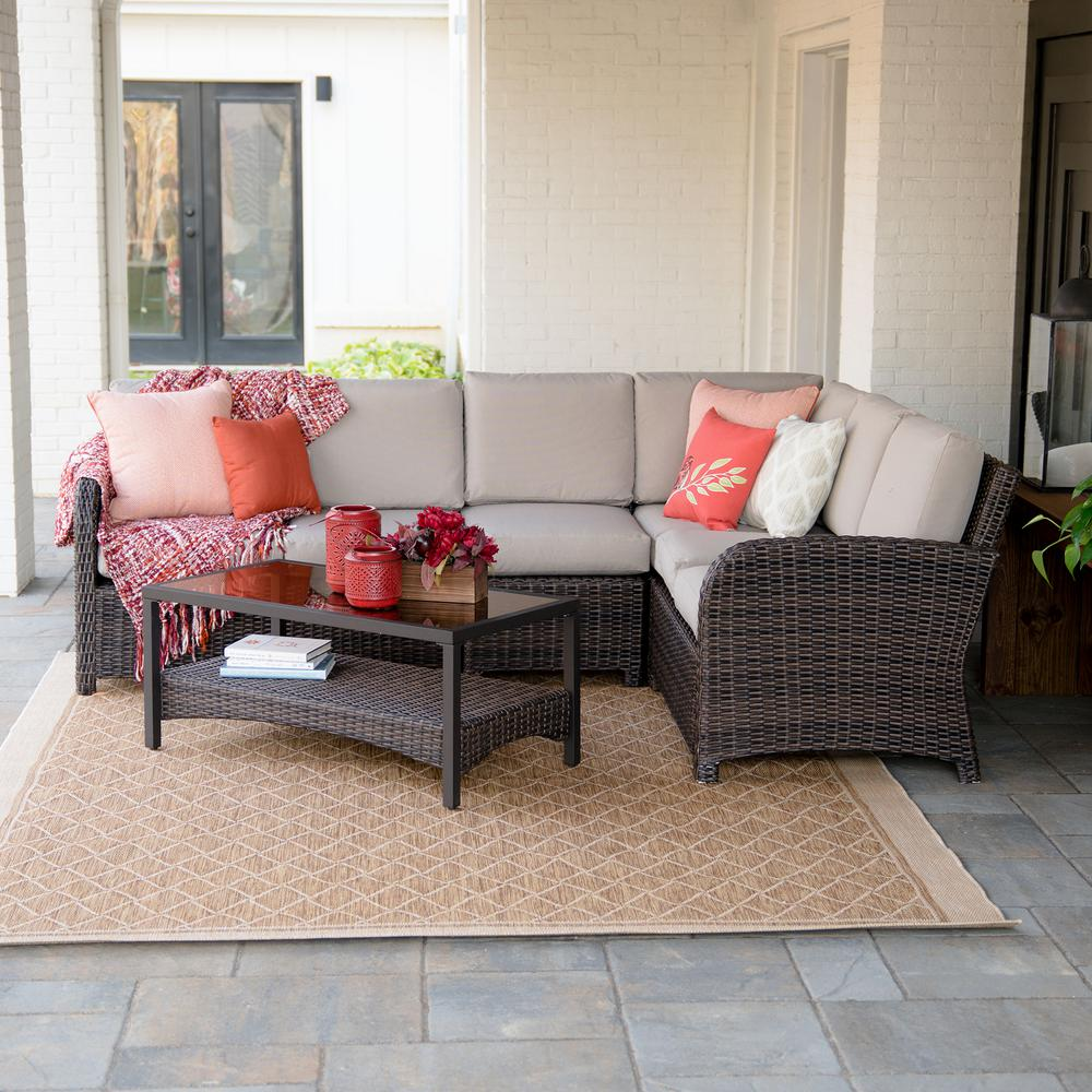 Leisure Made Jackson 5-Piece Wicker Outdoor Sectional Set with Tan Cushions