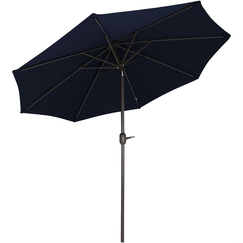 9 ft. Aluminum Market Auto Tilt Patio Umbrella in Sunbrella Navy Blue