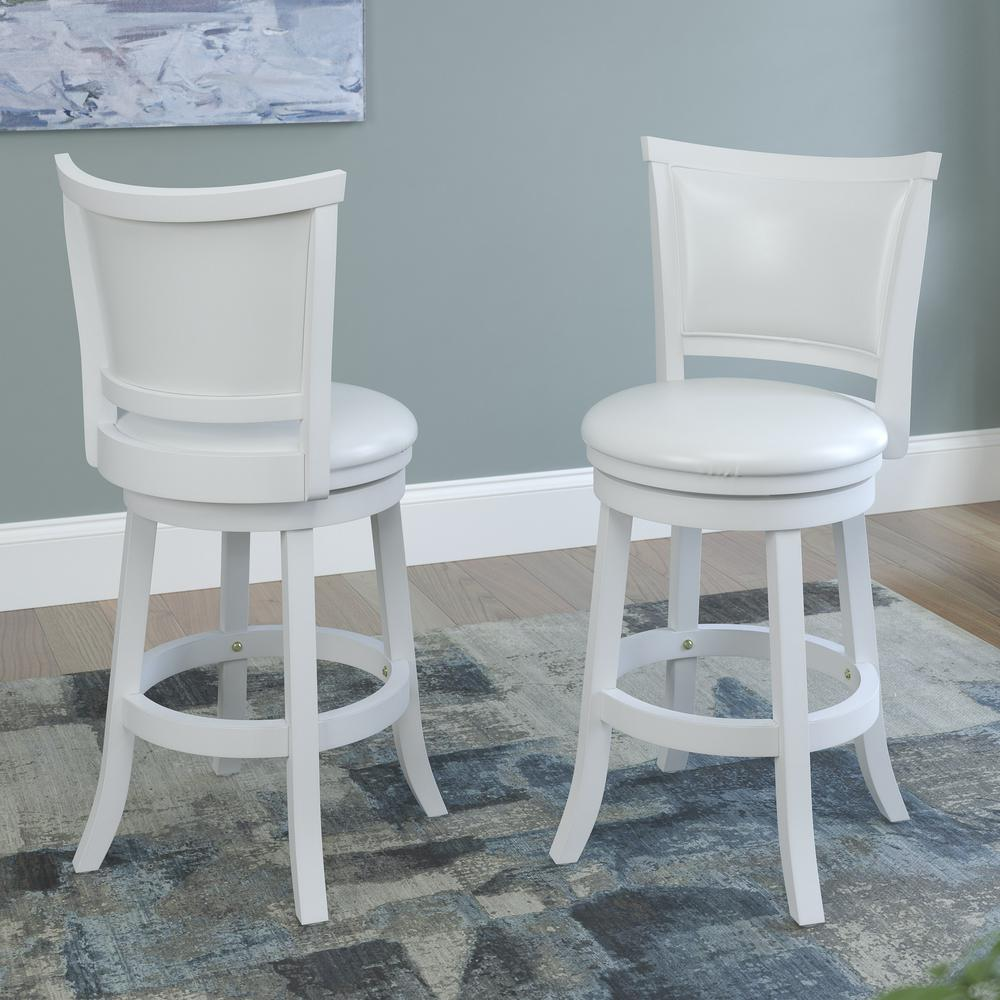 Corliving woodgrove 24 in white wash counter height for Counter height swivel bar stools