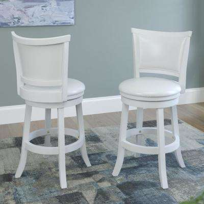 White Wash Counter Height Swivel Bar Stool Set Of 2