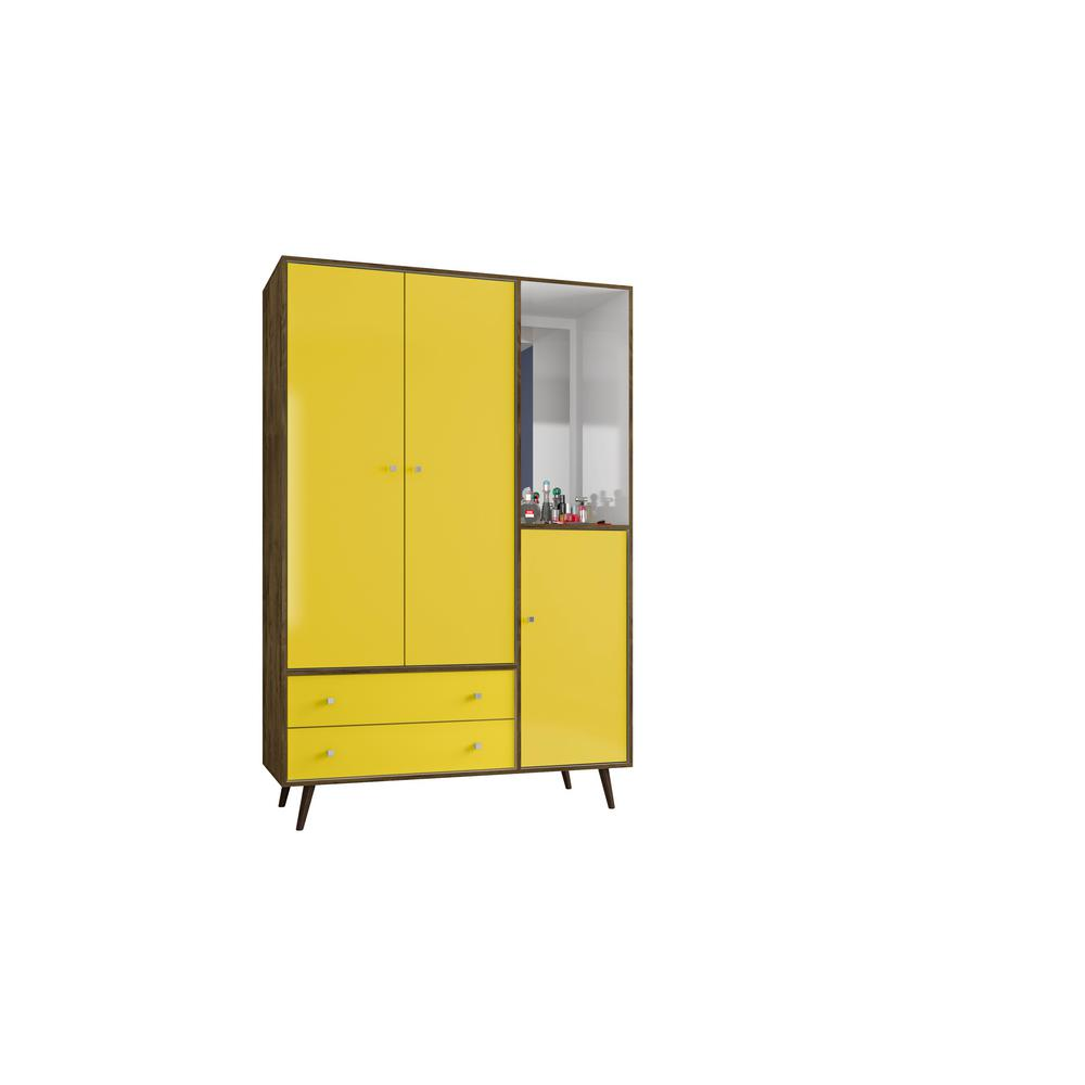 Liberty 47.83 in. Mid Century Rustic Brown and Yellow Modern Armoire