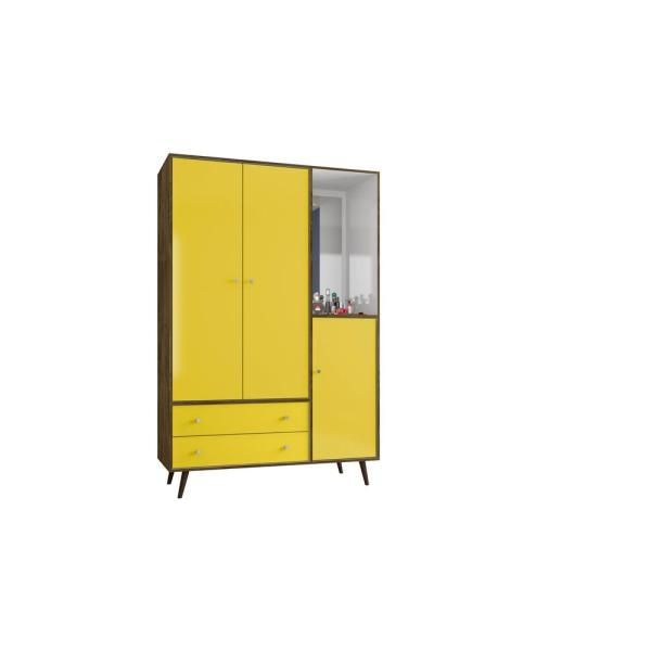 Mid Century Rustic Brown And Yellow Modern Armoire With Mirror 4 Shelves 2 Drawers Hanging Rod