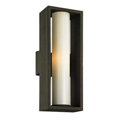 Mondrian 1-Light Textured Bronze 23.25 in. H Outdoor Wall Lantern Sconce with Opal White Glass
