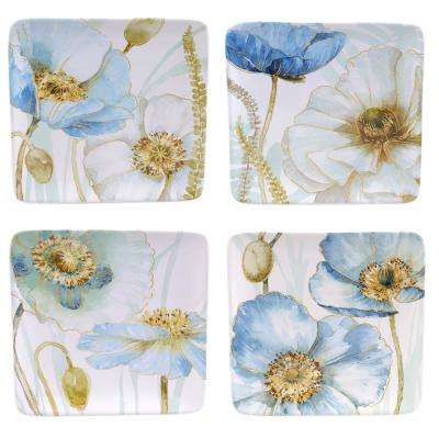 The Greenhouse 8.5 in. Poppies Blue Salad and Dessert Plate (Set of 4)