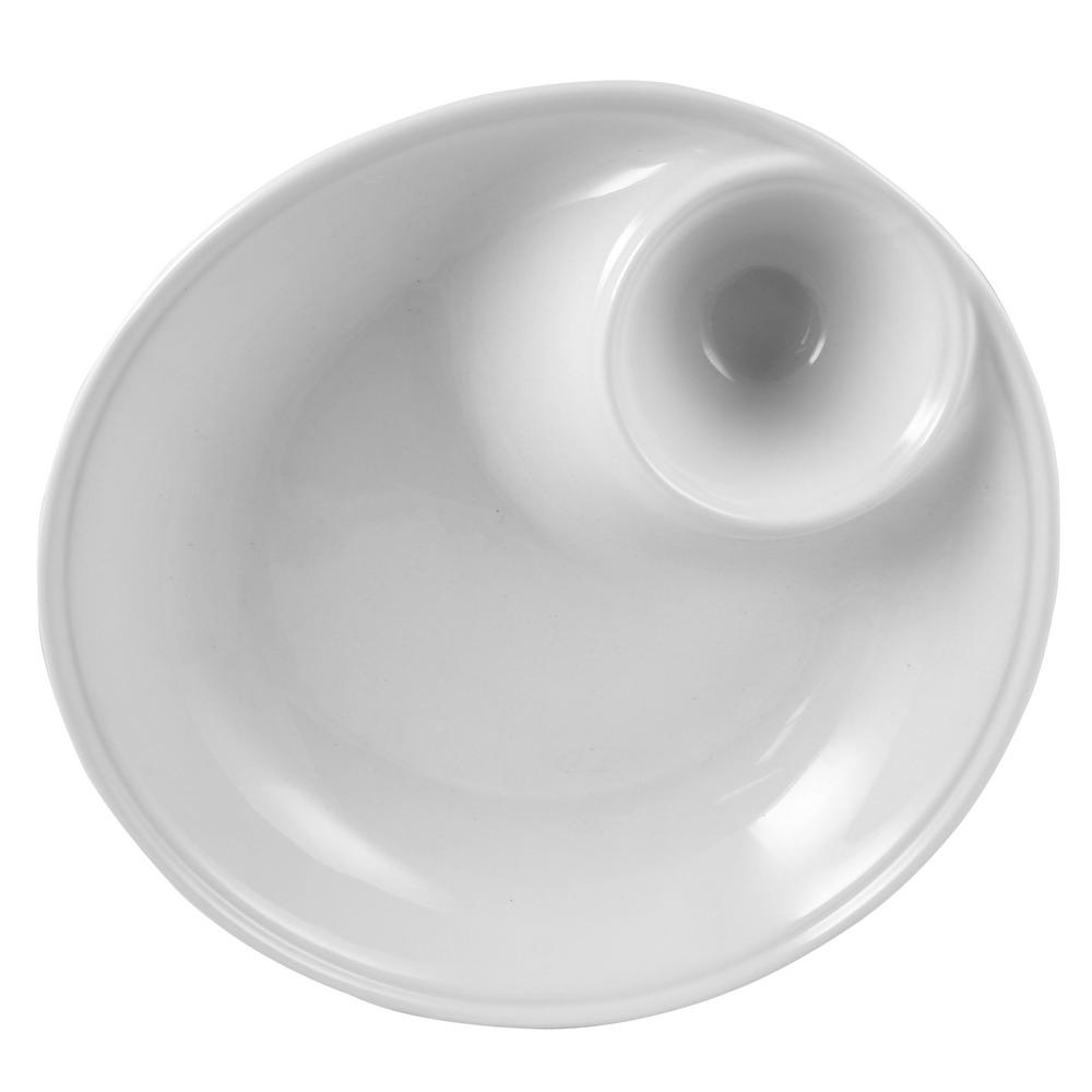 Gracious Dining 12 in. White Chip and Dip Serving Bowl