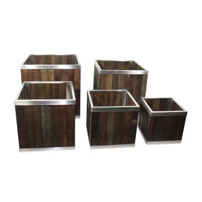 12 in. x 12 in. Square Dark Brown Wooden Planter Box with Stainless Steel Trim