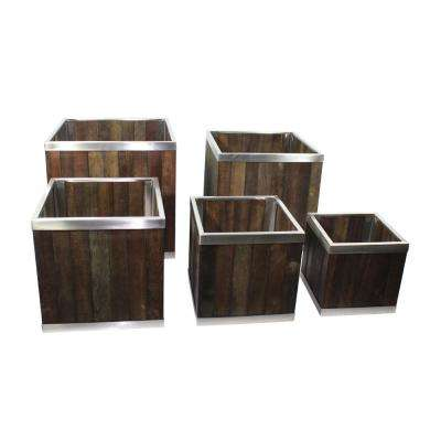 18 in. x 18 in. Square Dark Brown Wooden Planter Box with Stainless Steel Trim