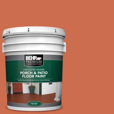 Behr Premium 5 Gal M180 6 Tiki Torch Low Lustre Enamel Interior Exterior Porch And Patio Floor Paint 630005 The Home Depot