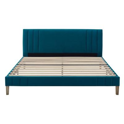 Corbin Channel Tufted King Antonio Juniper Upholstered Platform Bed  Headboard and Wood Frame with Wood Slat Support