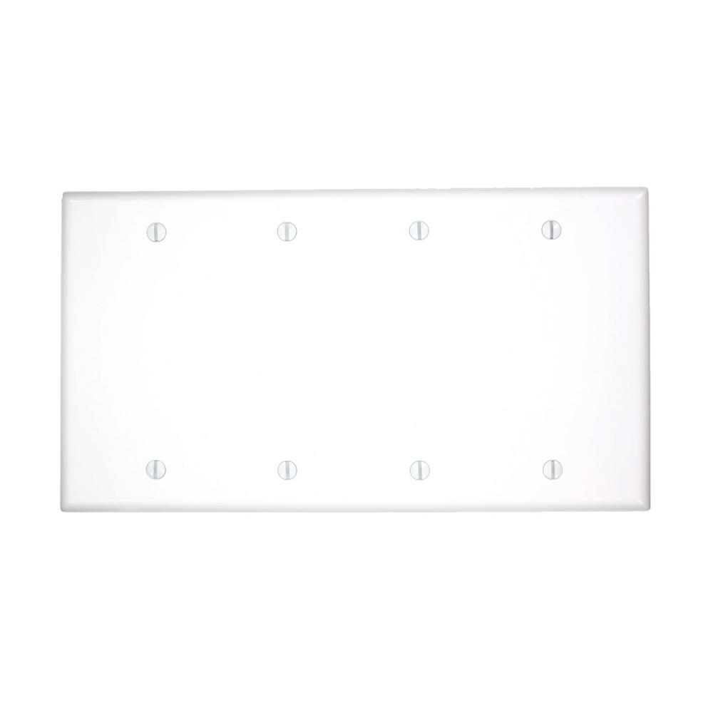 Leviton 4 gang no device blank wallplate standard size for Four blank walls