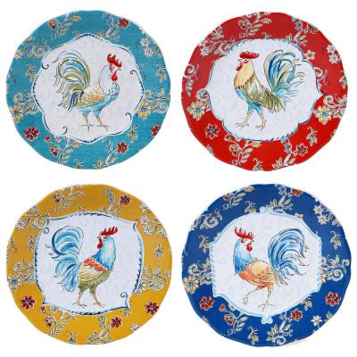 Morning Bloom 4-Piece Seasonal Multicolored Earthenware 8.75 in. Salad Plate Set (Service for 4)