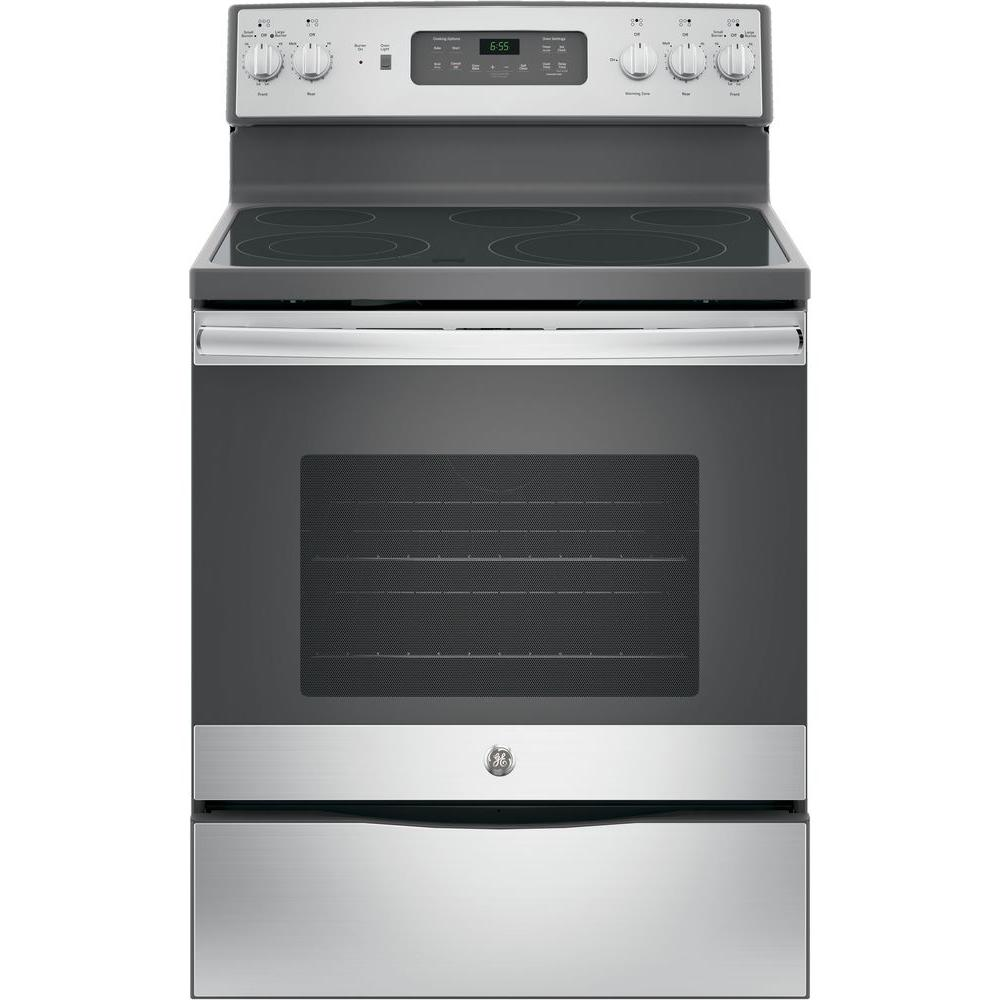 Oven Baking Element >> GE 30 in. 5.3 cu. ft. Electric Range with Self-Cleaning Convection Oven in Stainless Steel ...