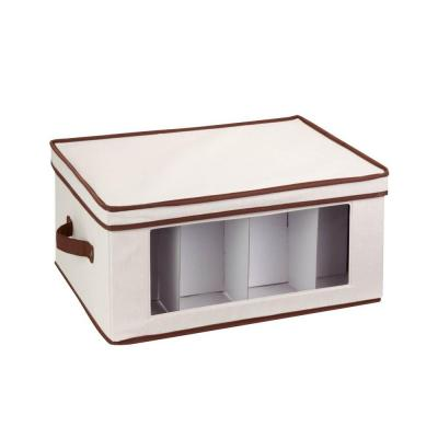 18 in. D x 11 in. H x 14 in. W Natural with Brown Trim Canvas Cube Storage Bin