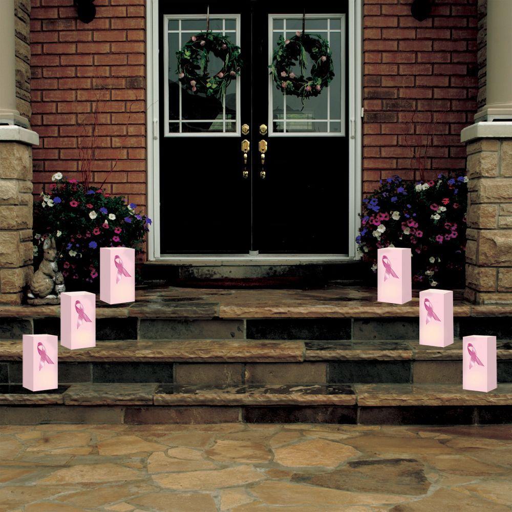 Lumabase Pink Ribbon Flame Resistant Luminaria Bags (Set of 12)