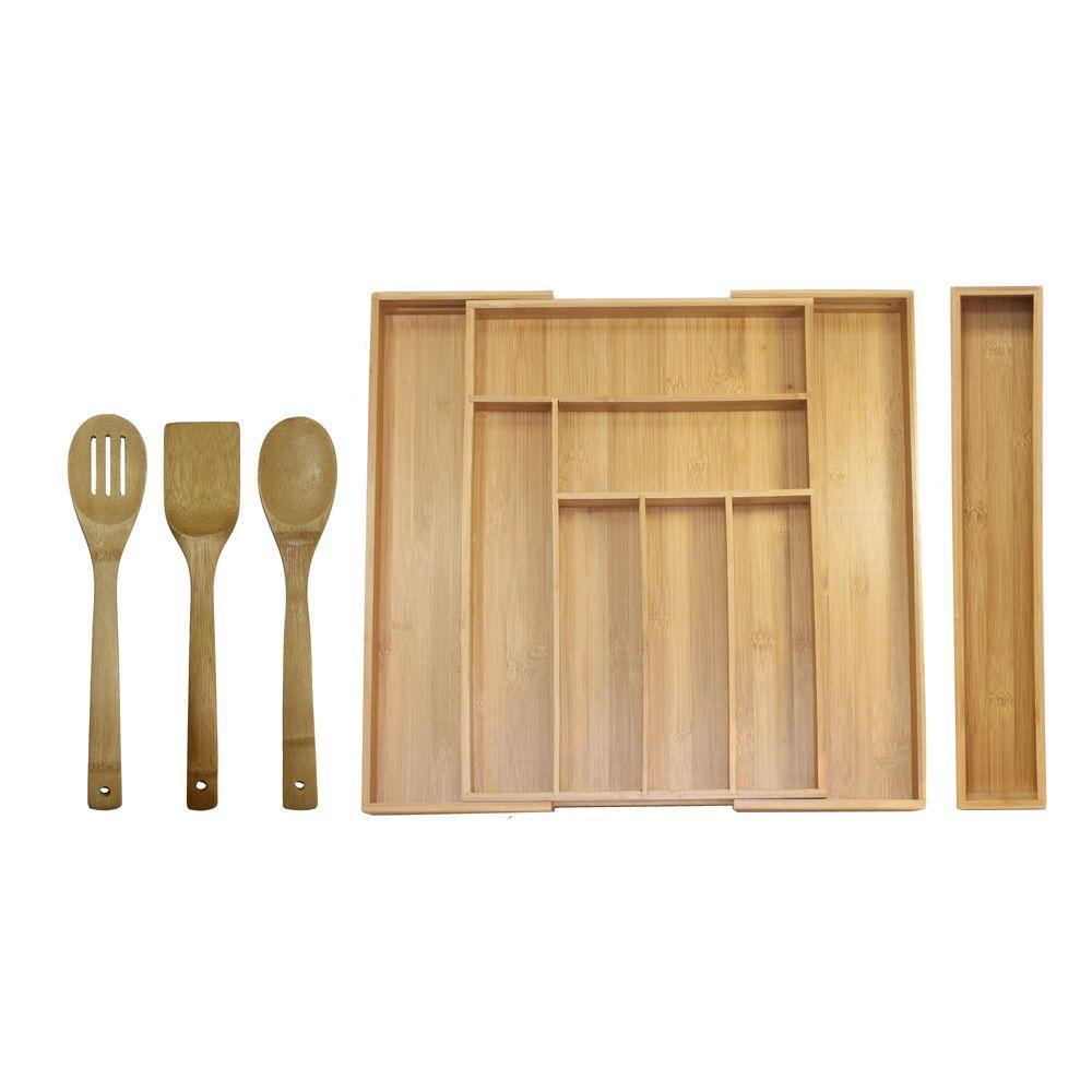 Oceanstar 18 in x 1275 in x 2 in bamboo expandable drawer bamboo expandable drawer utensil workwithnaturefo