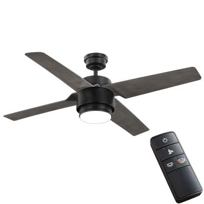 Dinton 52 in. White Color Changing Integrated LED Matte Black Indoor/Outdoor Ceiling Fan with Light and Remote Control