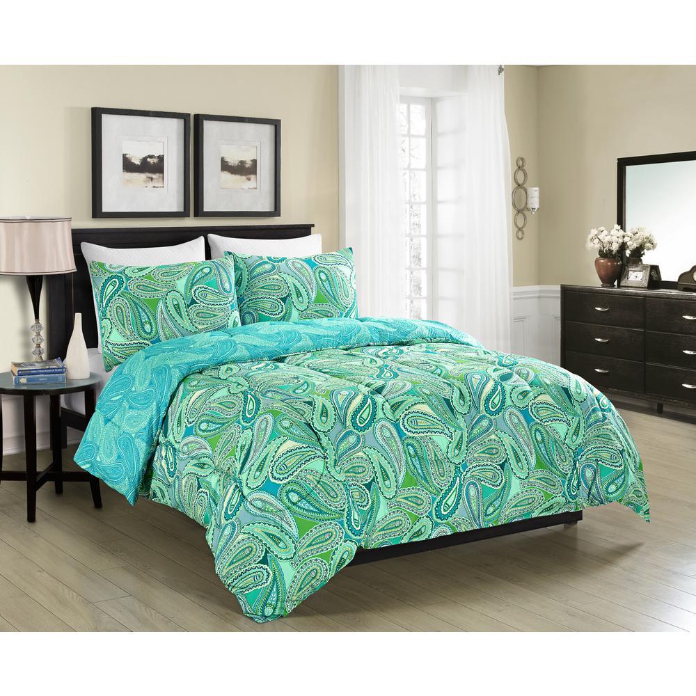 Aqua Paisley Reversible Queen Comforter Set