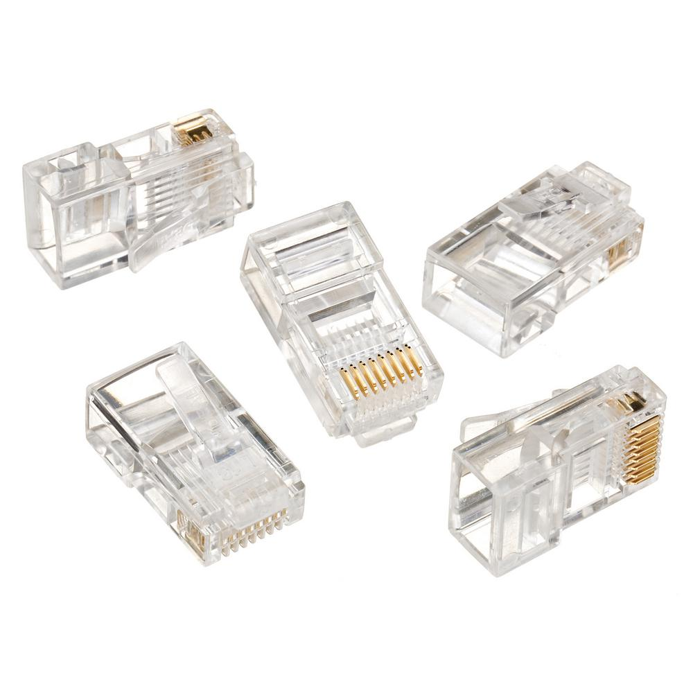 Ethernet Cat 5 Wall Jacks Plates The Home Depot Wiring Diagram For Phone Jack Plate Rj 45 8 Position Contact Category 5e Modular Plugs 25 Per