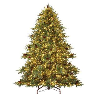 7.5 ft. Pre-Lit LED Refined Elegance Spruce Artificial Christmas Tree with 1600 Warm White Micro-Dot Lights