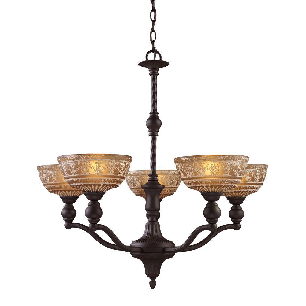 Titan lighting norwich 5 light oiled bronze chandelier with amber titan lighting norwich 5 light oiled bronze chandelier with amber glass shades aloadofball Images