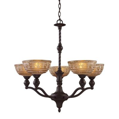 Norwich 5-Light Oiled Bronze Chandelier With Amber Glass Shades