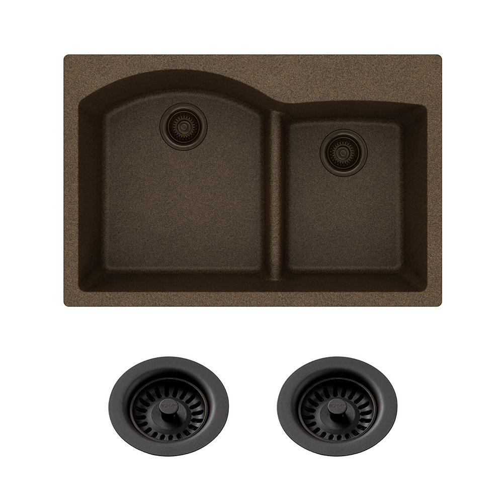 Elkay Quartz Classic Drop-in Composite 33 in. Double Bowl Kitchen Sink in  Mocha with Color Match Drain