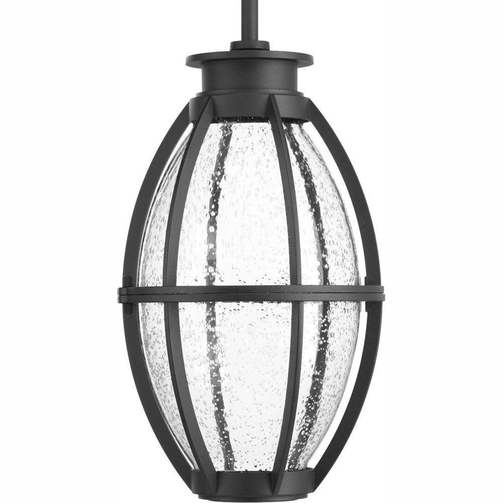 Progress Lighting Pier 33 Collection 9-Watt Outdoor Black Integrated LED Hanging Lantern