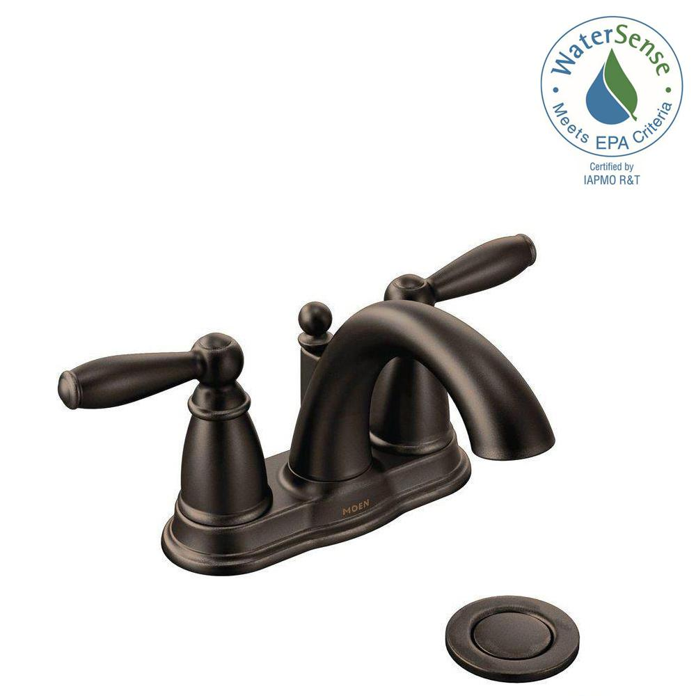 Moen Brantford 4 In Centerset 2 Handle Low Arc Bathroom Faucet Oil Rubbed Bronze With Metal Drain Embly