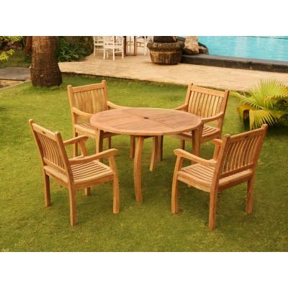 Jakarta 5-Piece Teak Outdoor Dining Set