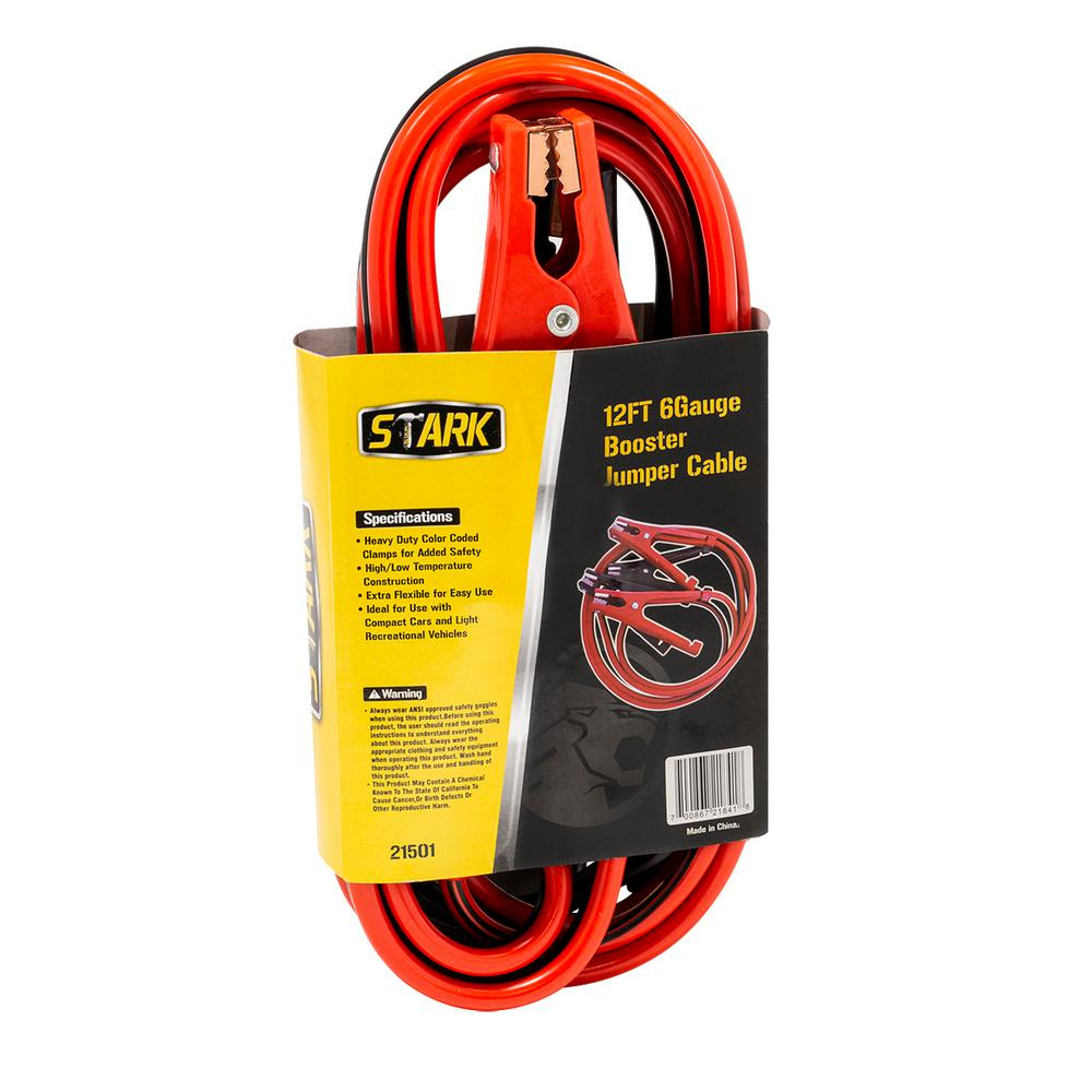 Heavy Duty 12/' FT 6 Gauge 500 AMP Emergency Jumper Cable Booster Jump Start