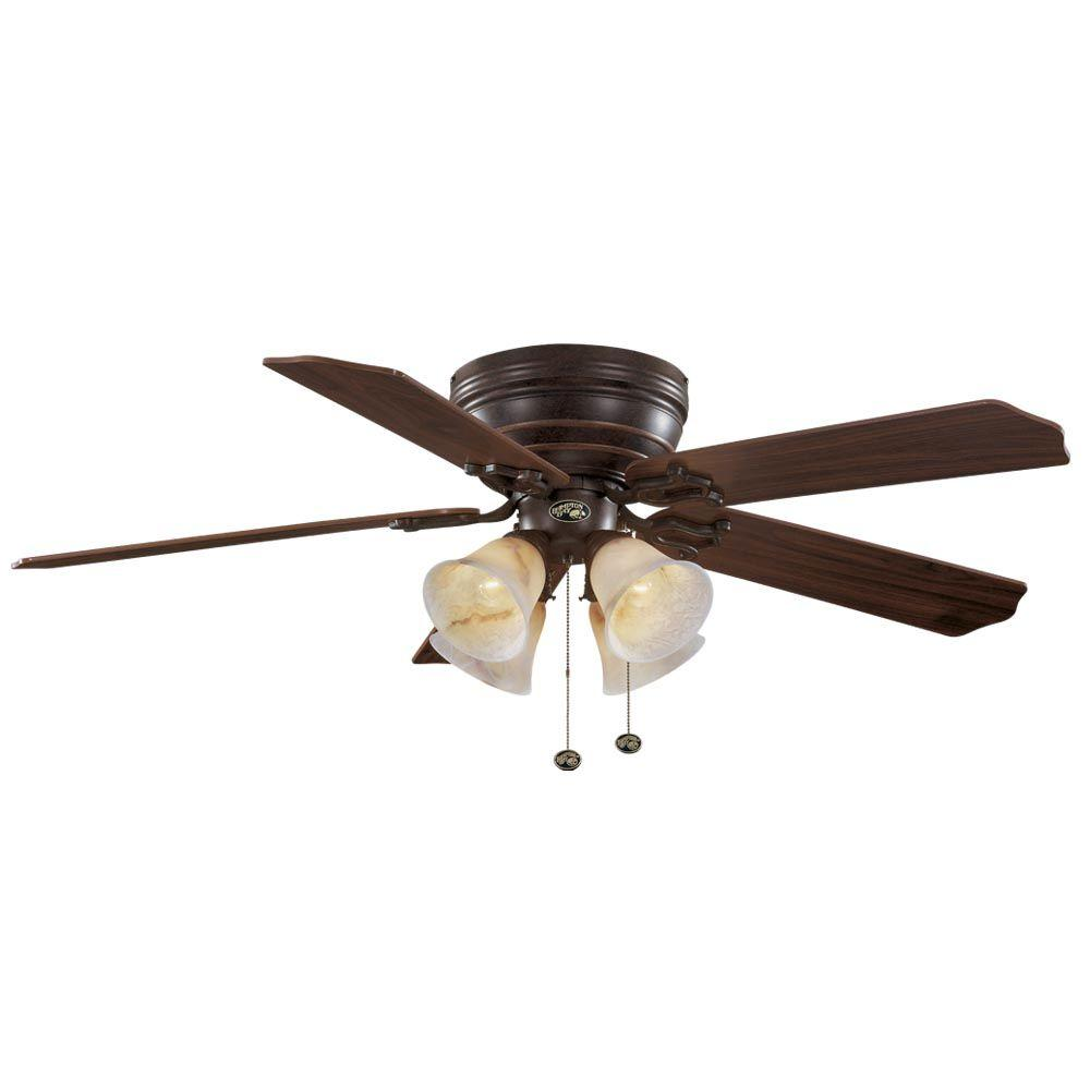 Hampton Bay Carriage House 52 In Indoor Iron Ceiling Fan With Light Kit 46011 The Home Depot