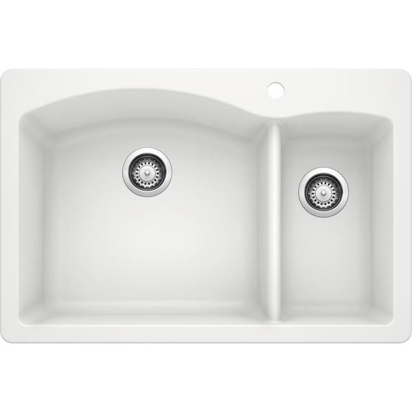 Blanco Diamond Dual Mount Granite Composite 33 In 1 Hole 70 30 Double Bowl Kitchen Sink White 440200 The Home Depot