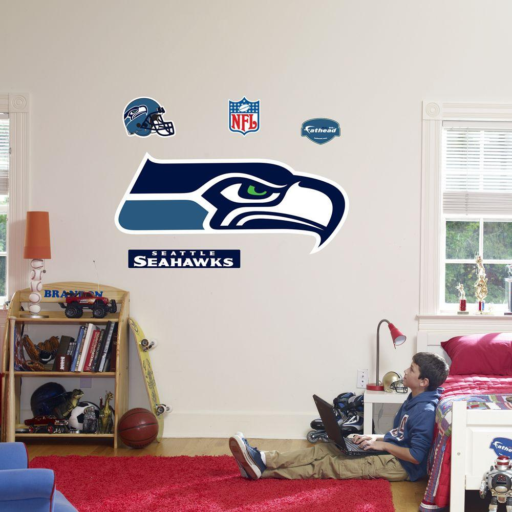 Fathead 57 in. x 25 in. Seattle Seahawks Logo Wall Decal