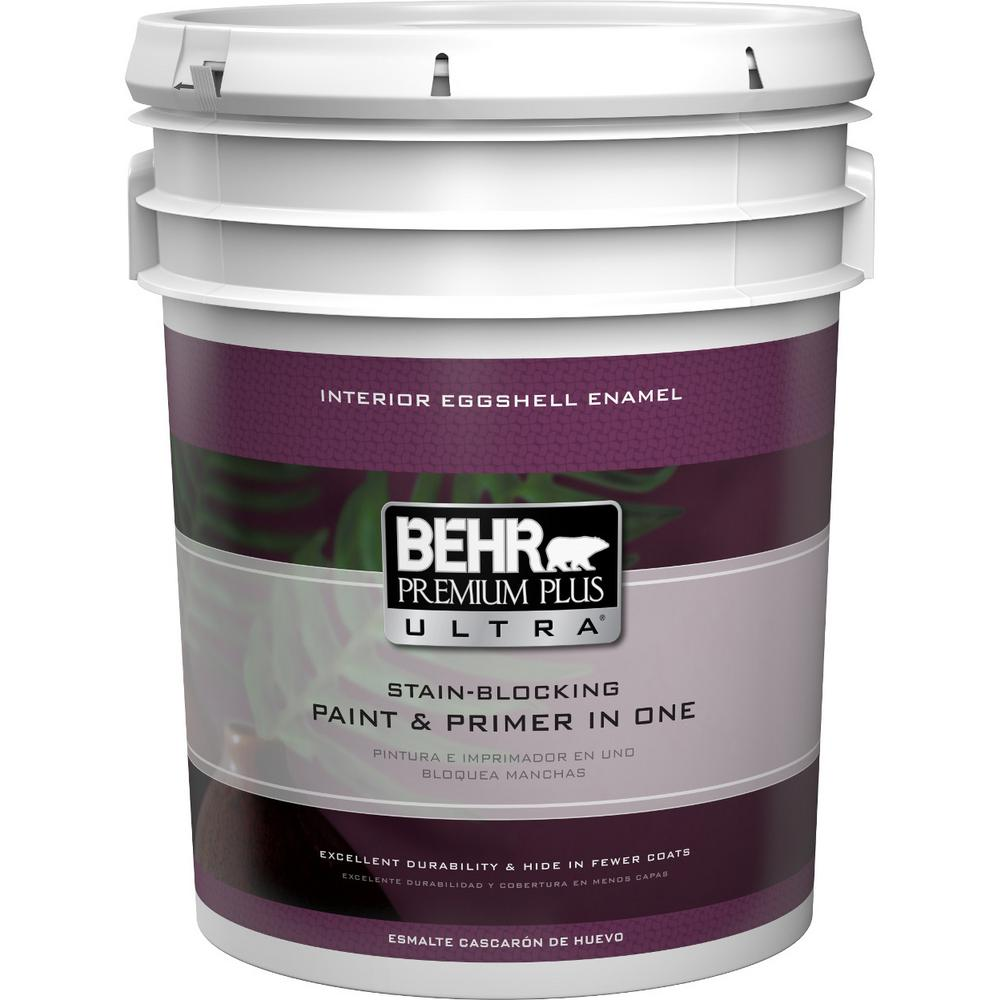 Charmant BEHR Premium Plus Ultra 5 Gal. Ultra Pure White Eggshell Enamel Interior  Paint And Primer