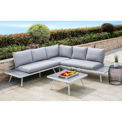 4-Piece Aluminum Outdoor Sectional Sofa Set with Gray Cushions