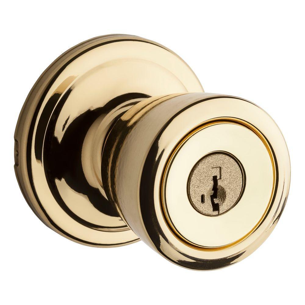 Kwikset Tylo Polished Brass Entry Knob featuring SmartKey400T 3