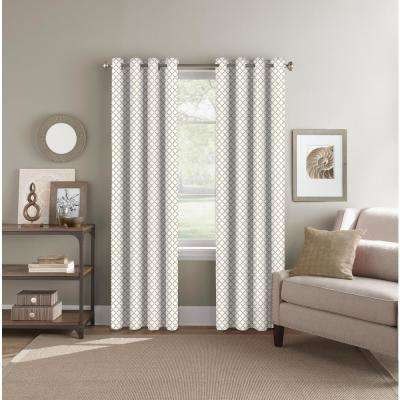 "Room Darkening Geo Beige Grommet Curtain Panel 52"" W x 84"" L"