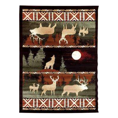 Lodge Design Deer, Moon and Wolf Black 7 ft. 6.5 in. x 10 ft. 5 in. Area Rug