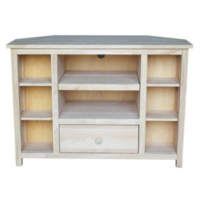 39 in. Unfinished Wood Corner TV Stand with 1 Drawer Fits TVs Up to 42 in. with Storage Doors