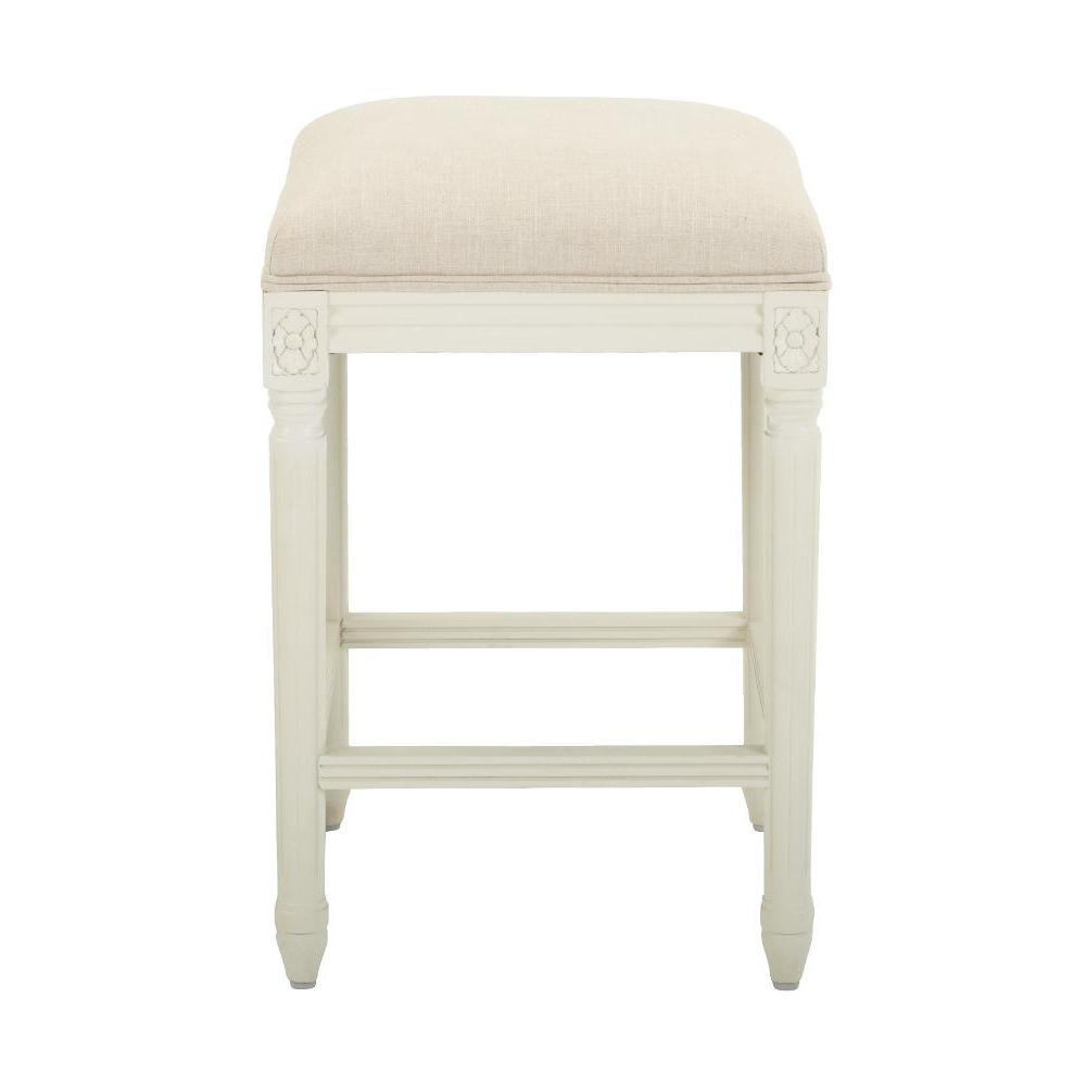 Jacques 25.25 in. Natural Cushioned Counter Stool in Antique Ivory