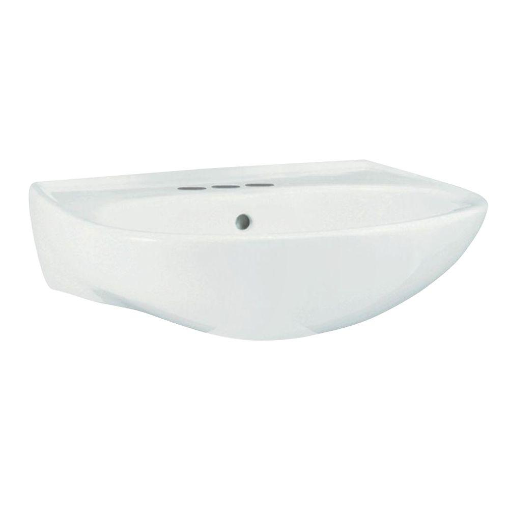 Merveilleux STERLING Sacramento 9 In. Wall Hung Vitreous China Pedestal Sink Basin In  White With