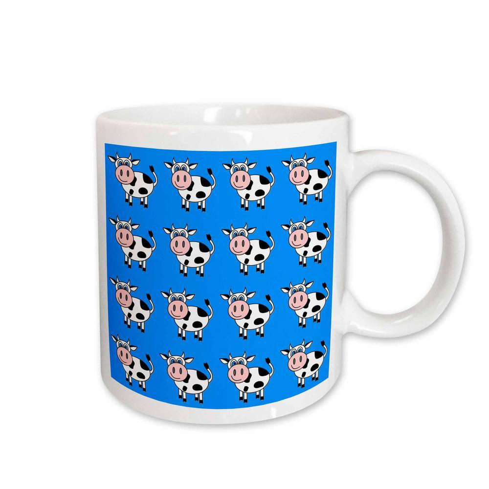 Janna Salak Designs Farm Animals 11 oz. White Ceramic Happy Cow Boy Blue Print Mug