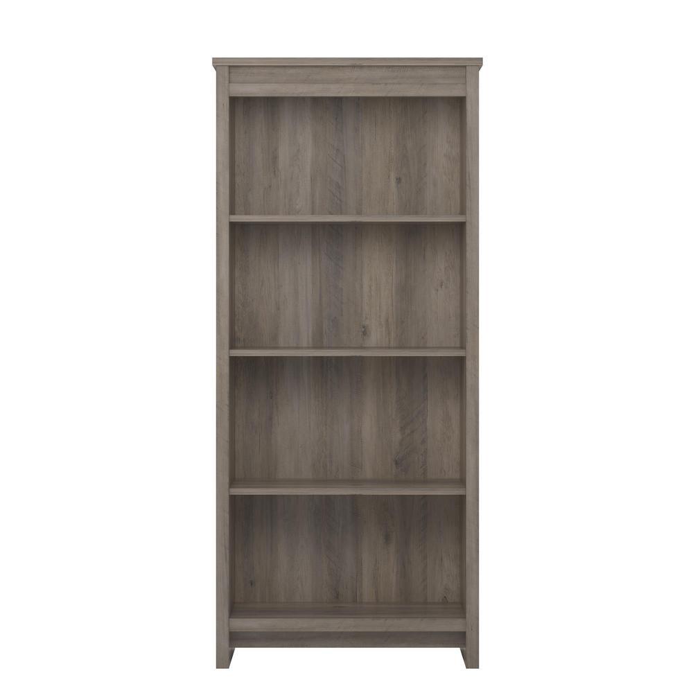 Amherst Gray Oak 4-Shelf Bookcase